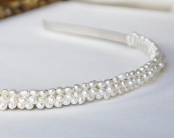 freshwater ivory nugget pearl silver alice band headband tiara for wedding bridesmaid or flowergirl