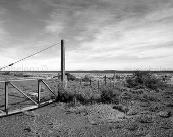 wild south , black and white photograph - Southern Argentina landscape black and white photography - pampas landscape photo black and white