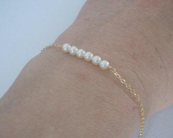 Little Pearl Bracelet- 14k Gold Filled Dainty petite pearls gold jewelry- Tiny Pearl Bracelet- great gift