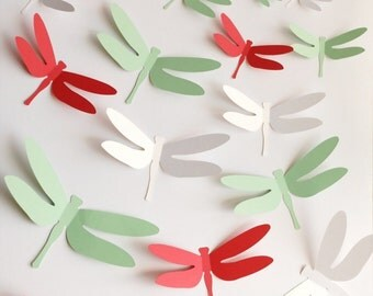 3D dragonfly with, wall sticker, room decoration, baby nursery, mixed color, 24 pieces