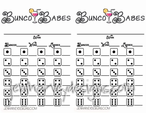 Bunco Babes Bunco Score Sheet