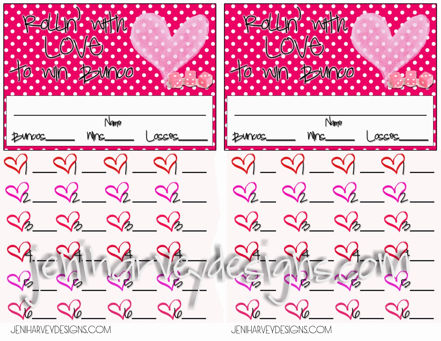Valentines Bunco Score Sheet – Bunco Score Sheets Template