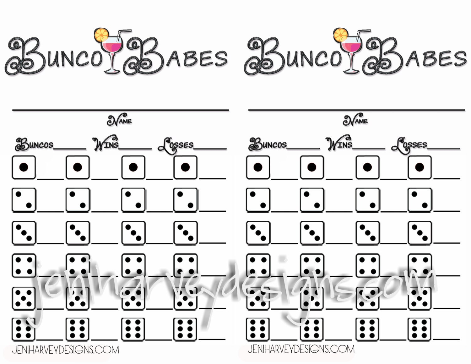 Bunco Babes Bunco Score Sheet – Bunco Score Sheets Template
