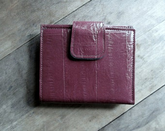 Clutch Wallet French Purse Vintage 80s oxblood leather dark red womens wallet coin purse Leathermark