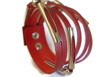 Leather Bracelet.Leather cuff bracelet.