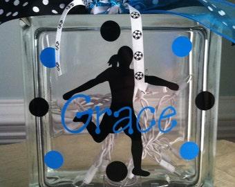 Personalized Soccer Glass Block Light