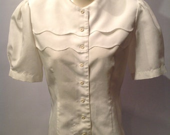 Classy White 80s Blouse. S or M.