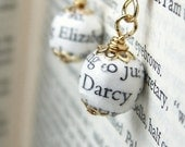 Pride and Prejudice, book page bead earrings