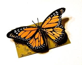 Medium Yellow Monarch Butterfly Hair Clip