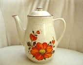 Retro Handpainted Coffee Pot, Tea Pot, Chocolate Pot, Orange Flower Motif, Groovy Orange Flowers