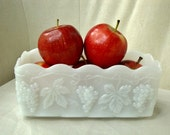 Fire King Milk Glass Planter, Fire King Vineyard, Grapevine Pattern Planter
