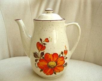 Retro Handpainted Coffee Pot, Tea Pot, Chocolate Pot, Orange Flower Motif, Groovy Orange Flowers