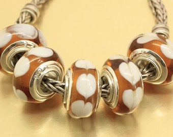 SiNGLE Core - Beautiful - AMBeR with White HEaRTS - STAMPeD 925 - Murano Glass Bead - fits European Bracelets - PGD-SC-5030-B