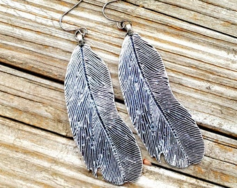 Feather Earrings - Silver - Native American Jewelry - Southwestern - Everyday Jewellery