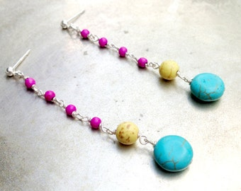 Turquoise Earrings - Turquoise Jewelry - Sterling Silver Jewelry Multi Color Jewellery Dangle Mod Unique Fashion