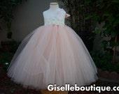 Flower girl dress. Peach with Ivory Hydrangeas Tutu Dress. Ivory dress, custom dress. baby tutu dress, toddler tutu dress, wedding, birthday