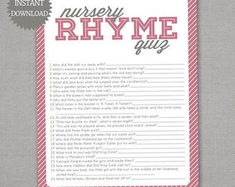 Nursery Rhyme Quiz - Baby Shower Game - Pink