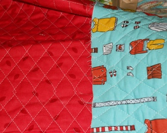 sale Beautiful Pre Quilted Little Apples by Aneela Hoey Kids clothing apple seeds on back side 1 yard cotton quilt fabric