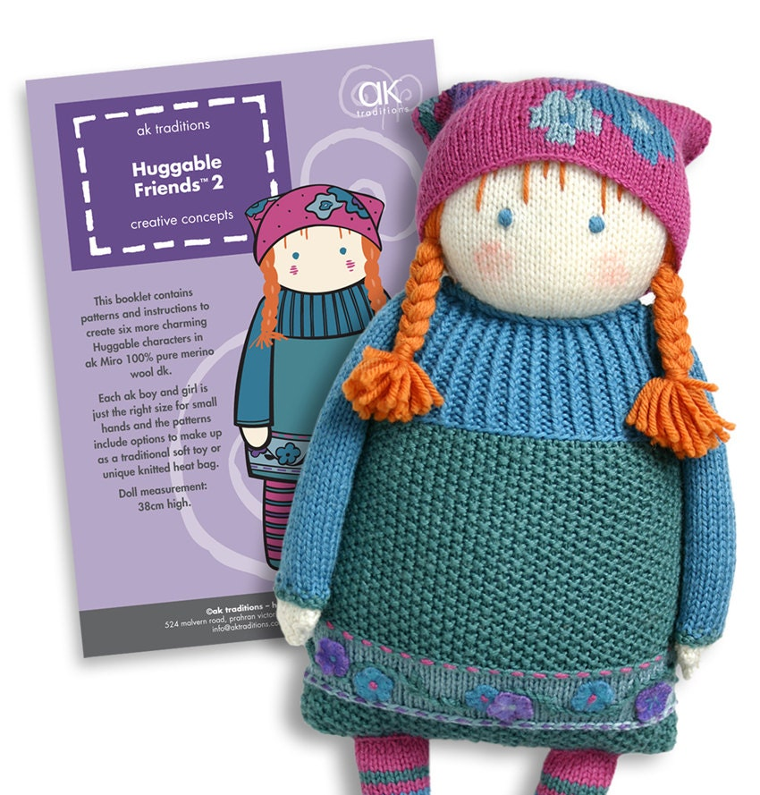 Knitting Doll How To Use : Huggable friends knitted doll pattern book