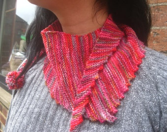 PDF Knitting pattern only. Knitted Bandana Scarflette by Knitwit Originals