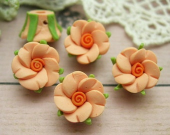 6 pcs-12mm Beautiful Fimo Rose Flower  Deep Peach (WP12-22)