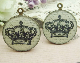 4 pcs (25 mm) Antique Bronze Plated Glossy Resin Pendant-( CN25-03)
