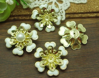 10pcs( 20mm ) Gold Plated Hand Made Resin Glossy Bead Cap,White