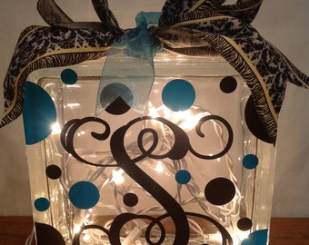 Customized LIGHTED GLASS BLOCK with Monogram, Initial, Name, Word, Polka Dots & Ribbon