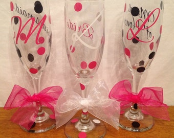 3 Personalized WEDDING CHAMPAGNE FLUTES Bride Bridesmaid with Initial Bridal Party Role & Polka Dots