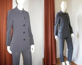 Vintage Gianni Versace Couture Gray & White Pinstripe Wool Pant Suit with Logo Buttons Bust 33