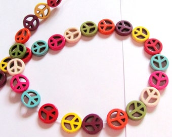 Peace Sign Turquoise Howlite Multicolor beads- 1/2 strands
