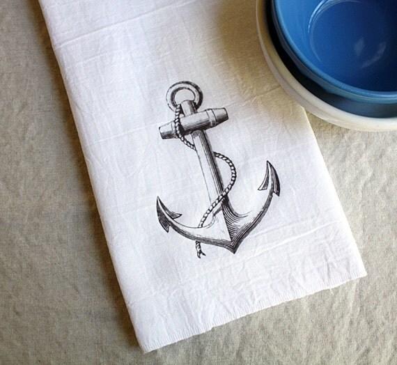 Nautical Tea Towel, Anchor, Kitchen, Beach, Housewares,  Home Deco,r Flour Sack Towe,l Beach Decor