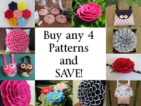 Buy Any 4 PDF Patterns Tutorials and SAVE - Choose from Flower Pillow Patterns, Hairclip Patterns, Purse Patterns, Coaster Pattern