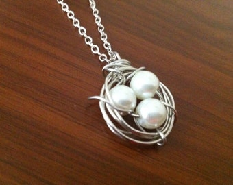 Bird Nest Necklace - Silver and White Pearls