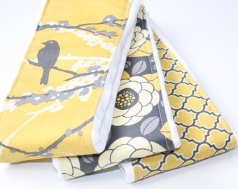 Baby Burp Cloths - Set of 3 - Vintage Yellow and Grey Aviary 2 from Joel Dewberry