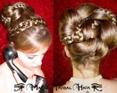 CHIGNON braided steampunk hair bun WEDDING BRIDE hair piece Fantasy Braid Reenactment plait Goth Renaissance Medieval Cosplay hair accessory