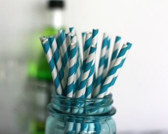 Straws for your yummy drinks teal blue 25 straws