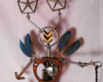 Star Captain the Key Keeper, Wire & Found Object Art Sculpture, Recycled Creation, Junk Art