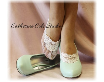 Lace socks heels peep socks wedding bridal shoes bridal ankle bridesmaids womens lace socks ENCHANTING LACE White Catherine Cole Studio FTL4