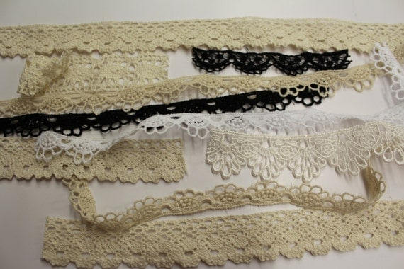 1 ounce of. assorted lace perfect for craft costume project that need small piece of lace wedding favors Catherine Cole trimming shop