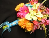 Tropical Bridal Bouquet. Orchid Calla Lily Aster Rose Orange Coral Turquoise Teal Purple Yellow Orange Lime Green. Destination Beach Wedding