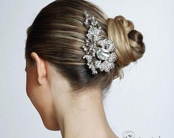 SALE crystal wedding bridal flower haircomb, brooch