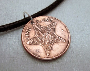 Starfish Necklace - 1998 Bahamas STARFISH Copper COIN necklace - one cent - penny - swordfish - flamingo - star fish pendant charm