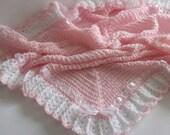 Crochet Baby Blanket / Afghan White Pink Christening, Baptism, Baby Girl Granny Square Crochet Blanket, Baby Shower Gift