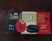 Box Whitman Crown Checkers Vintage 1960 - Vintage Game - Mad Men- Stocking Stuffer - Game Room - Man Cave - Gift Idea