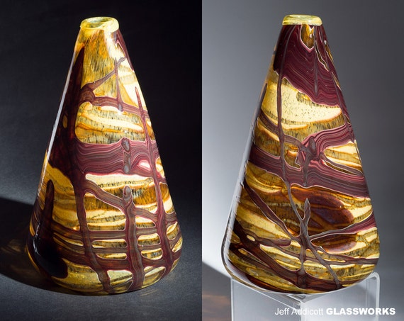 Hand-Blown Glass Earthy Gold Brown and Ruby Cone Vase