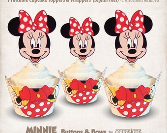 INSTANT DOWNLOAD, Printable Minnie Mouse Cupcake Toppers & Wrappers, Digital File, Minnie's Bowtique, Buttons and Bows, Red, Yellow