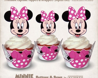 INSTANT DOWNLOAD, Printable Minnie Mouse Cupcake Toppers & Wrappers, Digital File, Minnie's Bowtique, Buttons and Bows, Pink