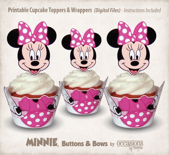 Instant Download Printable Minnie Mouse Cupcake Toppers