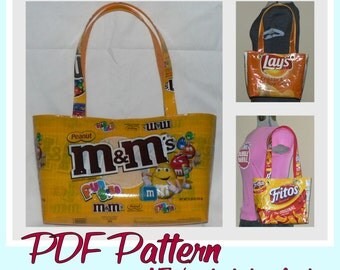Large Snack Wrapper Purse sewing pattern (PDF -instant download) DIY purse made using recycled wrappers, novelty purse